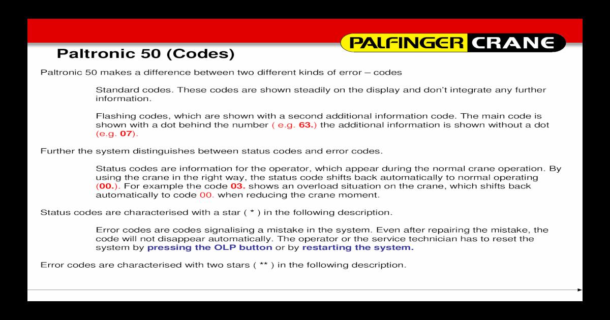 Palfinger error codes fandeluxe Image collections