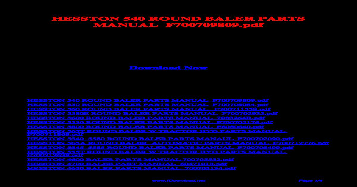hesston 540 round baler parts manual f700709809 pdf
