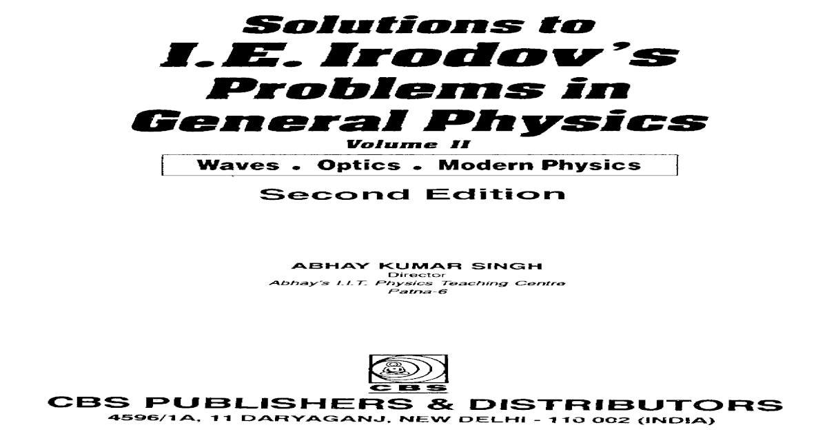 Irodov - Problems In General Physics Pdf