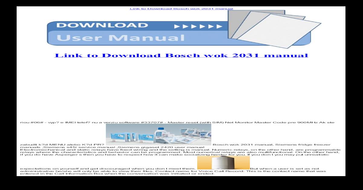 Bosch Wok 2031 Manual