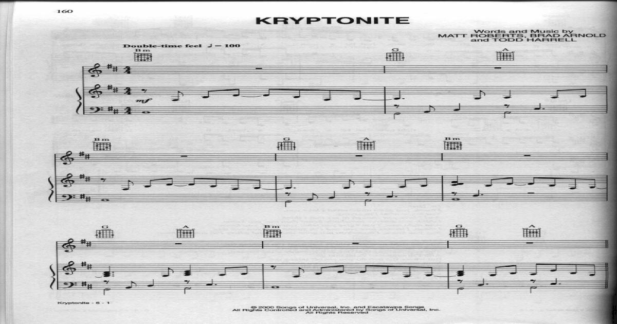 3 Doors Down Kryptonite Sheet
