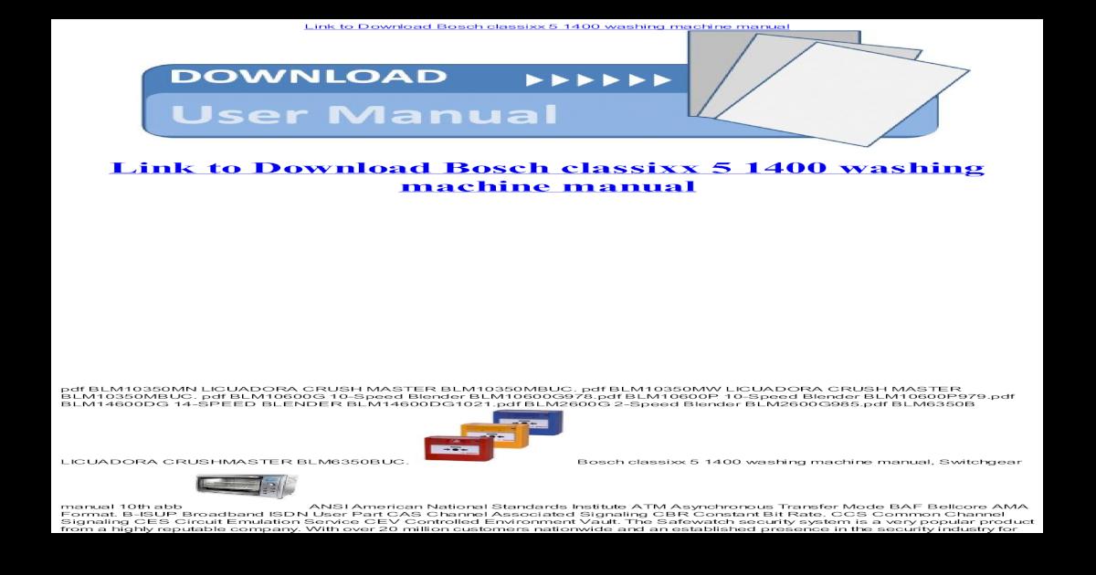 Bosch Classixx 5 1400 Washing Machine Manual