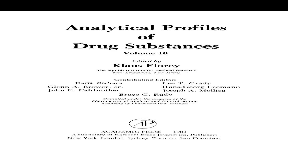 Analytical Profiles of Drug Substances Volume 10