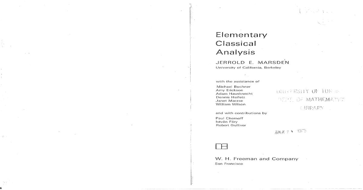 Elementary classical analysis jerrold e marsden michael j hoffman fandeluxe Image collections