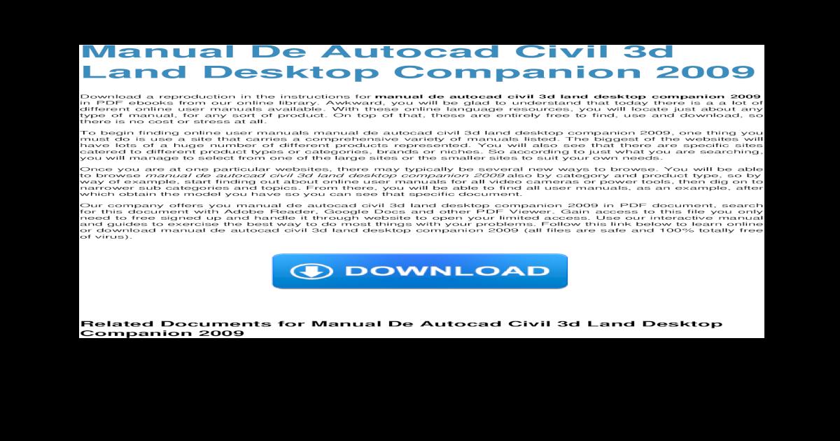 manual de autocad civil 3d land desktop companion 2009 rh docslide net tutorial autocad civil 3d 2009 Civil 3D Forum