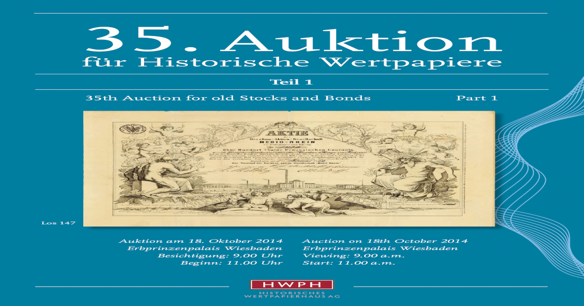 35th Auction for old stocks and bonds / Historische Wertpapiere ...