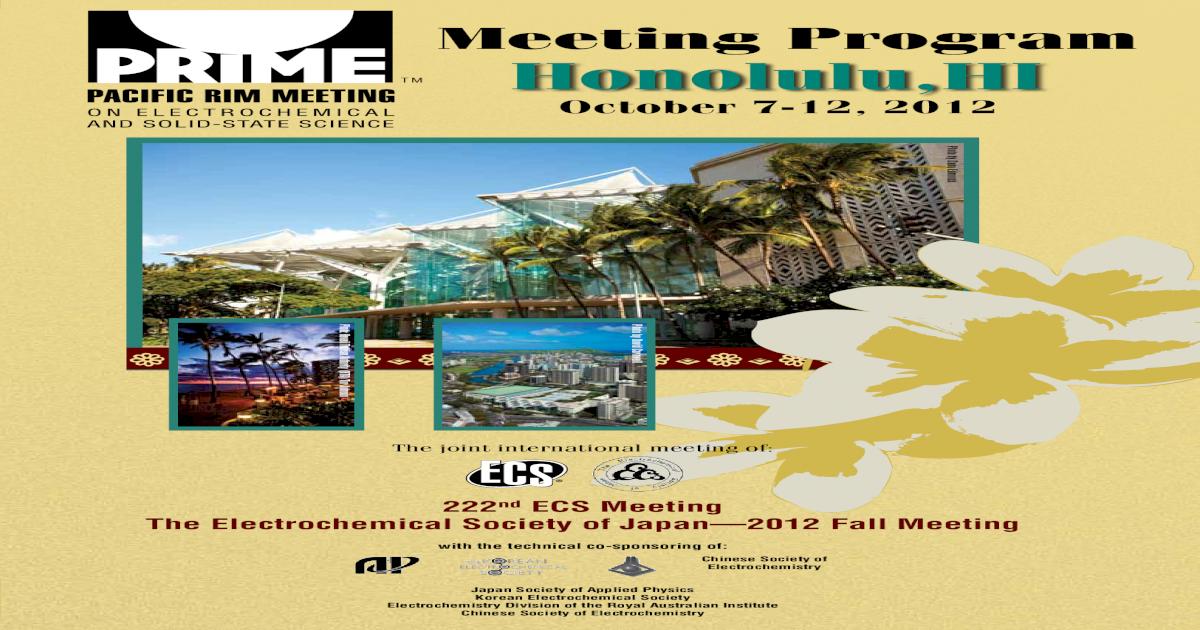 PRiME 2012: Meeting Program