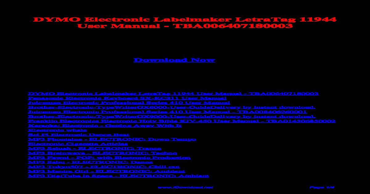 Dymo Electronic Labelmaker Letratag 11944 User Manual Tba006407180003