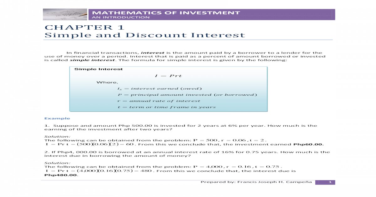 the mathematics of investment