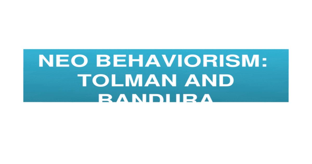 neo behaviourism