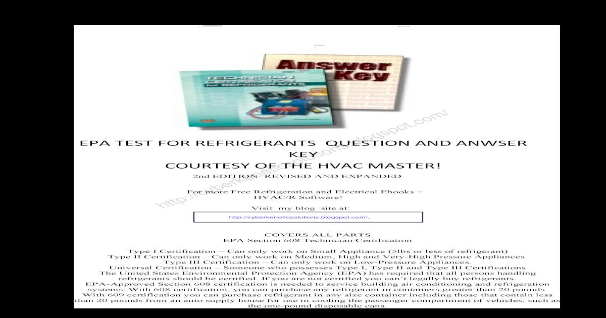 Technician Certification For Refrigerants Answer Key Epa Section 608