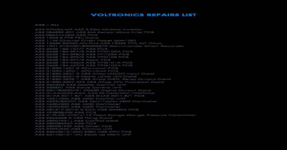 VOLTRONICS REPAIRS LIST on