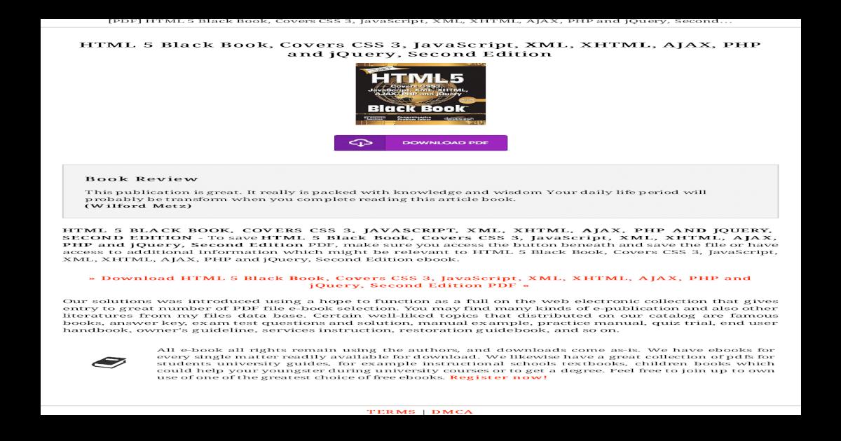 Html 5 Black Book Covers Css 3 Javascript Xml Pdf Html 5 Black