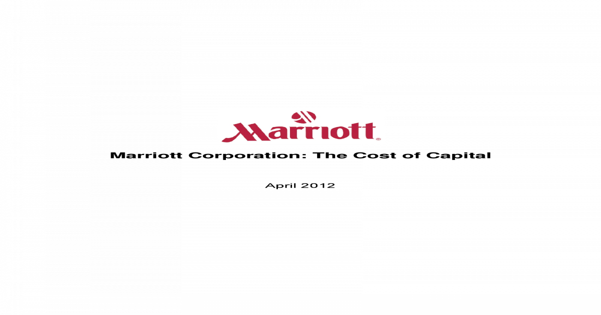 marriott corporation project chariot case solution