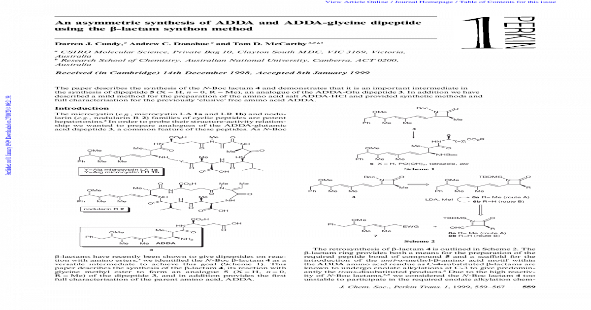 An asymmetric synthesis of ADDA and ADDA-glycine dipeptide