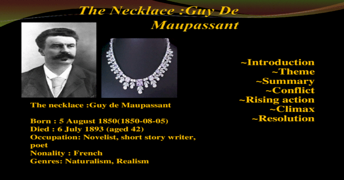 conflict of the necklace by guy de maupassant