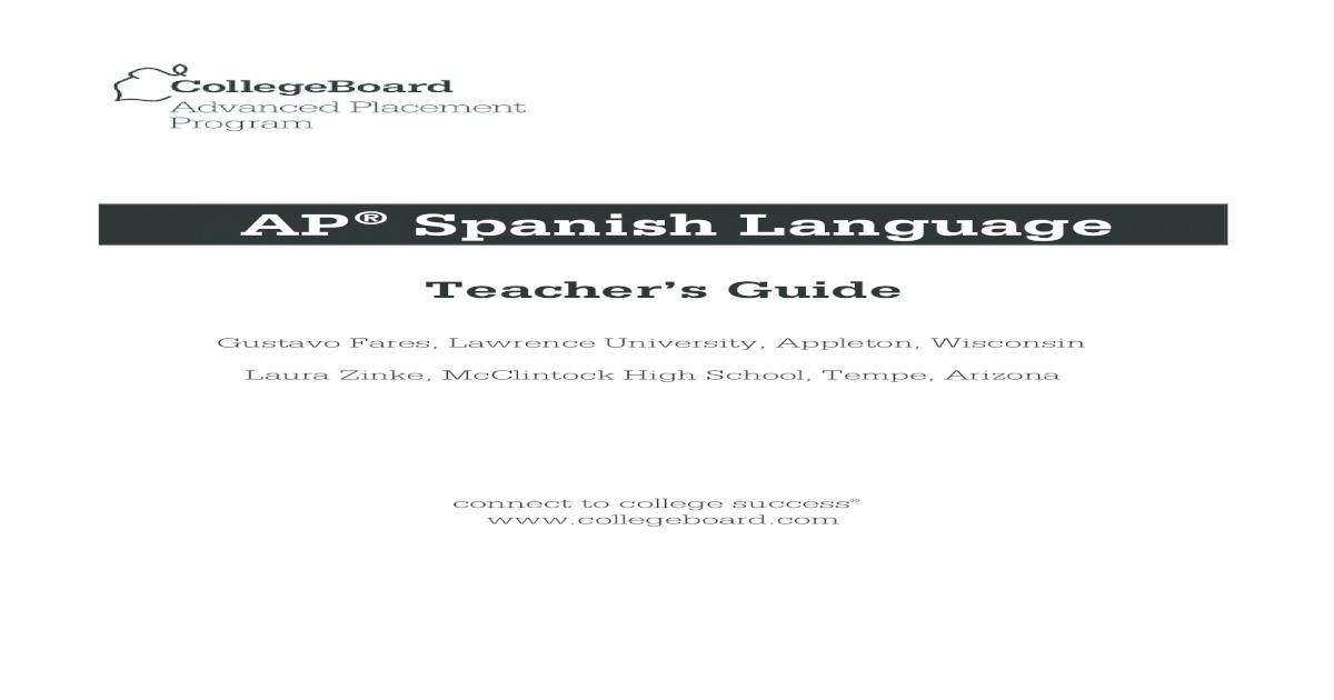 Spanish Lang Teachers Guide