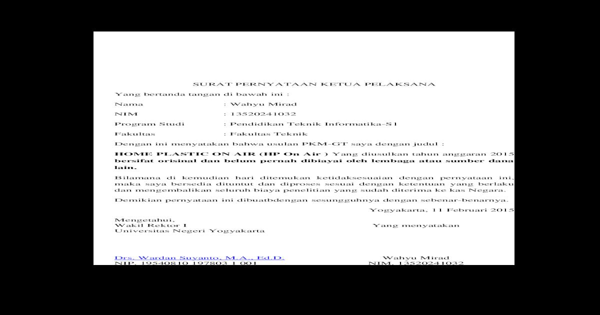 Pkm Gt Format Surat Pernyataan Ketua Pelaksana