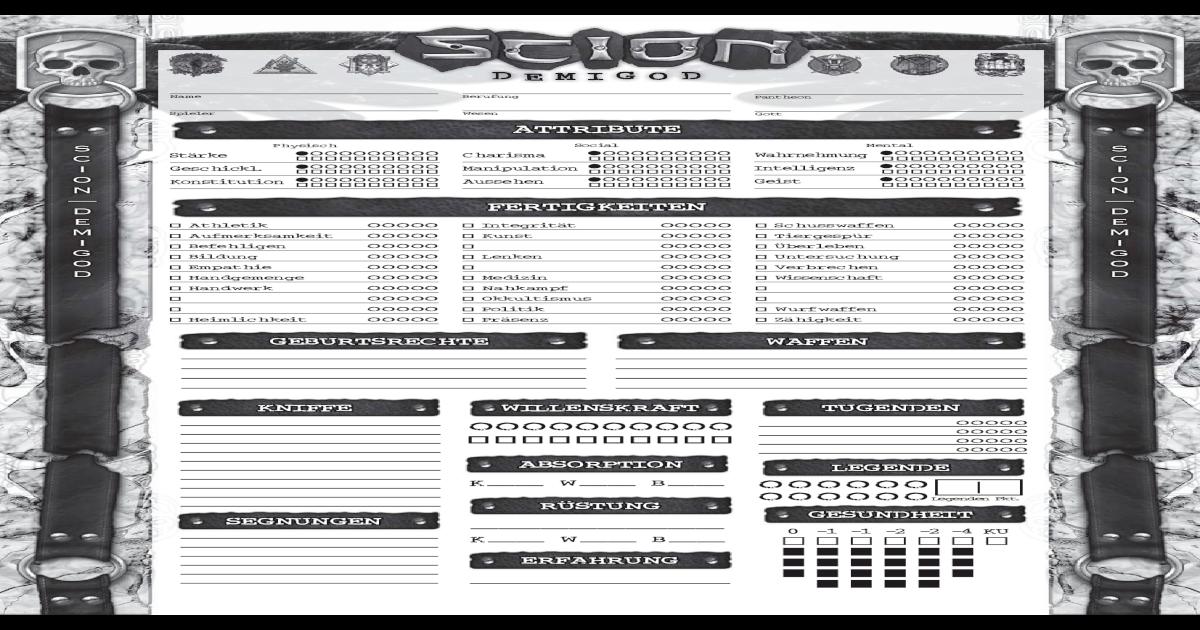 Scion Demigod Charakterbogen Deutsch