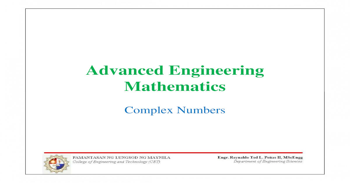 complex numbers in engineering