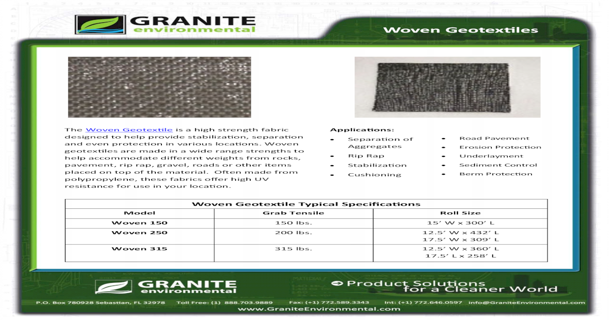 Woven Geotextiles - Erosion Pollution ? Erosion Protection