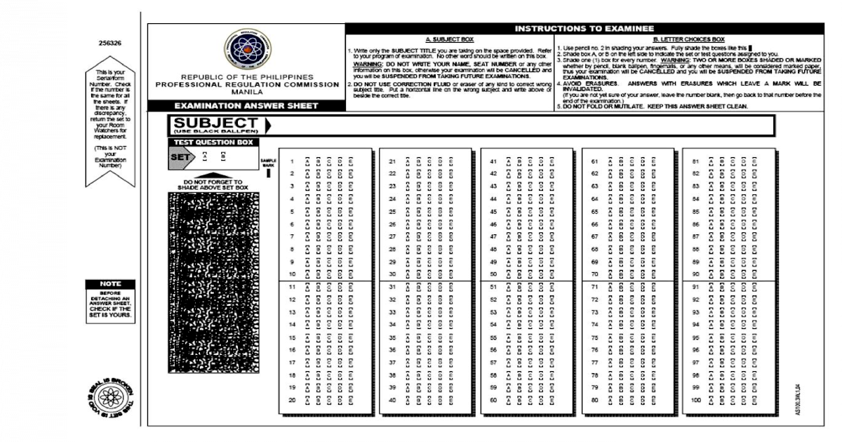 Top Five Sample Answer Sheet Prc Board Exam - Circus